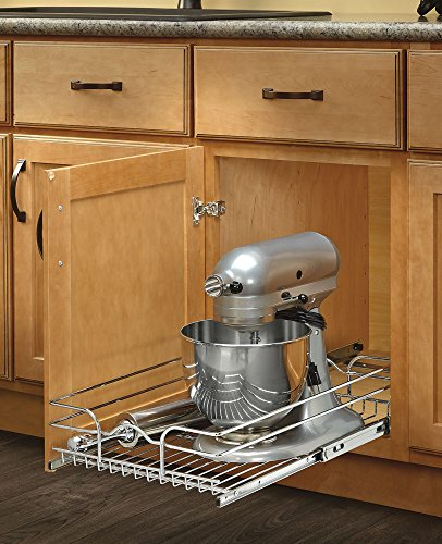 090713048475 - Rev-A-Shelf - 5WB1-1522-CR - 15 in. W x 22 in. D Base Cabinet Pull-Out Chrome Wire Basket carousel main 3