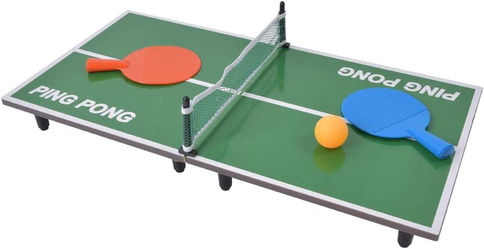 JULYKAI Mesa de Ping-Pong portátil Mesa Plegable de Ping Pong, Mini Mesa de Tenis de Mesa Interior Juego de Mesa de Ping-Pong Plegable Juguete de Entretenimiento para Padres e Hijos Mini Juego