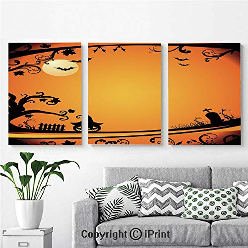 Modern Salon Theme Mural Halloween Themed Image Eerie Atmosphere Gravestone Evil Pumpkin Moon Decorative Painting Canvas Wall Art for Home Decor 24x36inches 3pcs/Set, Orange Black]()