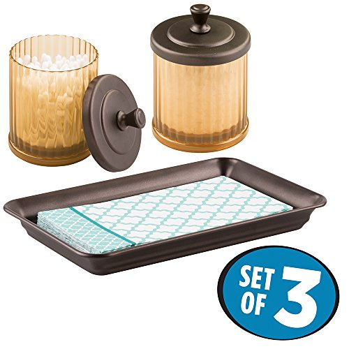 mDesign Bath Accessory Set, Small Canister, Vanity Tray - Set of 2, Amber/Bronze