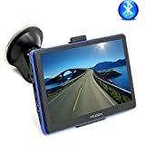 Xgody 886 7 Inch Portable Car Trucking GPS Navigation Bluetooth Capacitive Touchscreen 8GB ROM NAV System Navigator with Sun Shade Lifetime Maps Updates Spoken Turn-By-Turn Directions