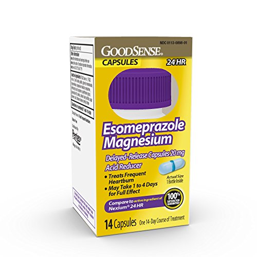 GoodSense Esomeprazole Magnesium Delayed Release Capsules 20 mg, Acid Reducer, Treats Heartburn, 14 Count