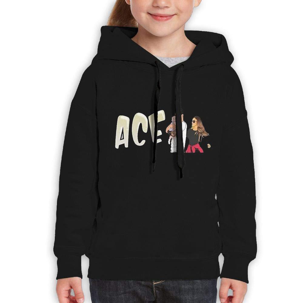 MUPTQWIU Teen ACE Family Same Popular Logo Casual Style Walk Black Hoodie