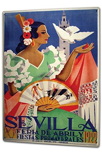 Tin Sign XXL City Spain Sevilla Flamenco by LEOTIE