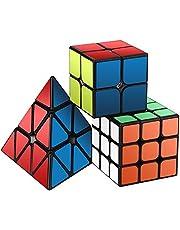 Roxenda Cubo de la Velocidad Paquete, Cubo Mágico Puzzle Pack - 2x2x2 3x3x3 Pyramid Cube, Super-Durable con Colores Vivos, Fácil de Tornear y Liso Jugar