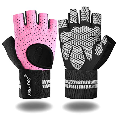 Xinluying Workout Gloves for Men Women - Gym Training Gloves with Wrist Support for Fitness Exercise Weight Lifting Crossfit Bodybuilding Pink Small