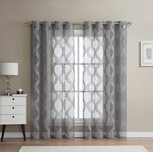 HLC.ME Adel Damask Burnout Window Sheer Voile Curtain Grommet Panels - Set of 2-84