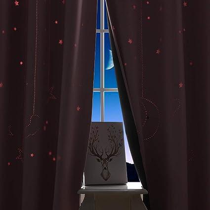 PONY DANCE Rideaux Occultants avec Doublure - Rideaux Enfants Etoile  Ciselées Isolation Thermique Draperies Salon Décor de Fenêtre pour Chambre  du ...
