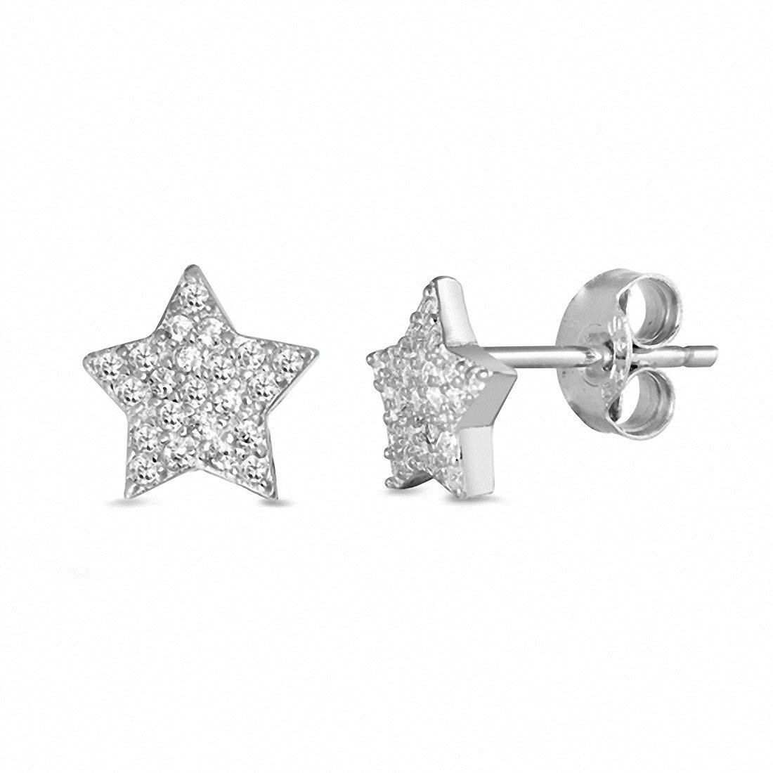 Star Stud Earrings Pave Round Cubic Zircona 925 Sterling Silver Chose Color