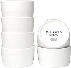 "M. Gastro Kitchens 6 Piece Set, 5 Ounce ""West Loop"" Ramekins, Creme Brulee, Souffle, Custards (5 Ounce, White)"