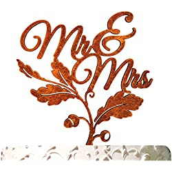 "aMonogram Art Unlimited Mr. And Mrs. Fall Cake Topper Cake Topper, 6"", Orange"