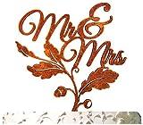 aMonogram Art Unlimited Mr. And Mrs. Fall Cake Topper Cake Topper, 6'', Gold Glitter