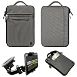 Silver Gray FIRE JACKET Smooth Nylon Feel Protective Durable Quality Sleeve with accessories compartment For Amazon Kindle Fire Full Color 7'' Multi-touch Display, Wi-Fi (Newest Tablet) + Includes a Compatible Universal Windshield Mount for Kindle Fire