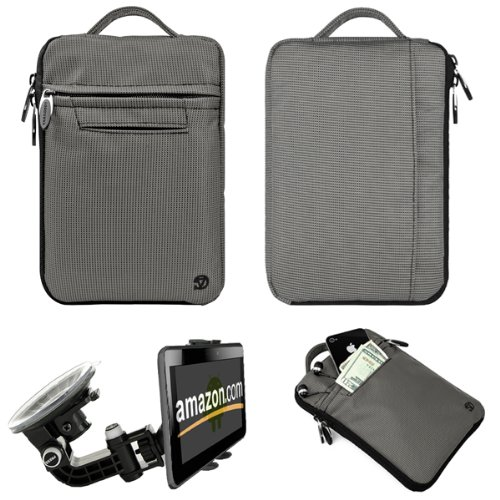 Silver Gray FIRE JACKET Smooth Nylon Feel Protective Durable Quality Sleeve with accessories compartment For Amazon Kindle Fire Full Color 7'' Multi-touch Display, Wi-Fi (Newest Tablet) + Includes a Compatible Universal Windshield Mount for Kindle Fire by Kindle Fire Accessories