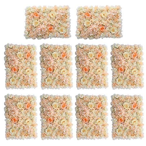 - BROSCO 10Pcs Artificial Flower Wall Panel Hall Home Wedding Venue Decor Orange