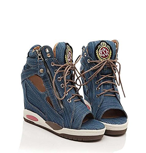 Increased Cakes Casual Denim Fashion Personality Leisure Women's shoes The Lace Blue Shoes Fish Loose Within Mouth nw1zqw0xvY