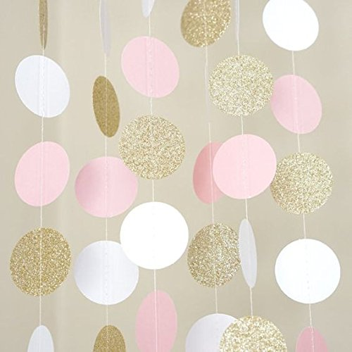 Paper Garland Gittler Circle Polka Dots Banner Birthday Nursery Party Decor Baby Shower, Pack of 5, Each 6.5 Feet Long (Pink White Gold) by Fascola