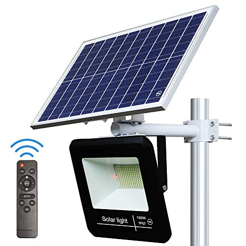 YQL 100W Outdoor LED Solar Street Security Flood Light IP67 Waterproof White 6500K 208 LEDs Auto On/Off Dusk to Dawn with Remote and Multi-Functional Bracket for Exterior Roads Yard Garden Pathway