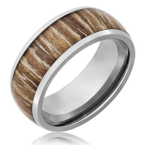 Three Keys Jewelry 8mm Titanium Ring Wedding Band Engagement Ring Silver with Real Wood Inlay Comfort Fit Size 12
