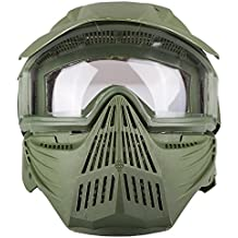 Paintball Anti Fog Goggle Mask with Adjustment buckles - wide angle - 160 degrees of vertical vision, 260 degrees of horizontal - Olive