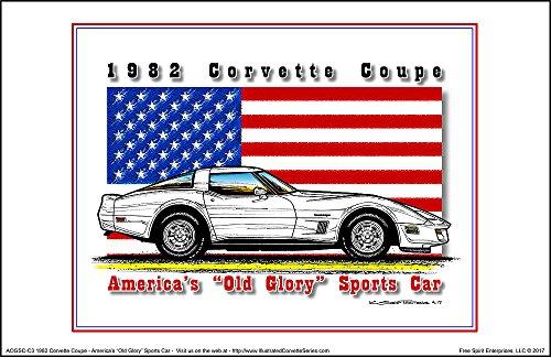 [America's Old Glory 1982 Corvette - American Flag Art Print] (1982 Flag)