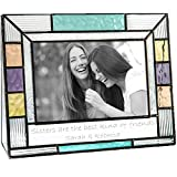 J Devlin Pic 391-46H EP570 Personalized Picture Frame for Sister Colorful Stained Glass Engraved 4 x 6 Horizontal Photo Keepsake Gift