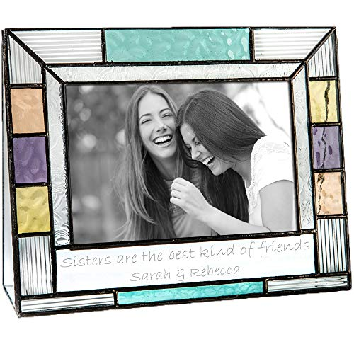 J Devlin Pic 391-46H EP570 Personalized Picture Frame for Sister Colorful Stained Glass Engraved 4 x 6 Horizontal Photo Keepsake ()