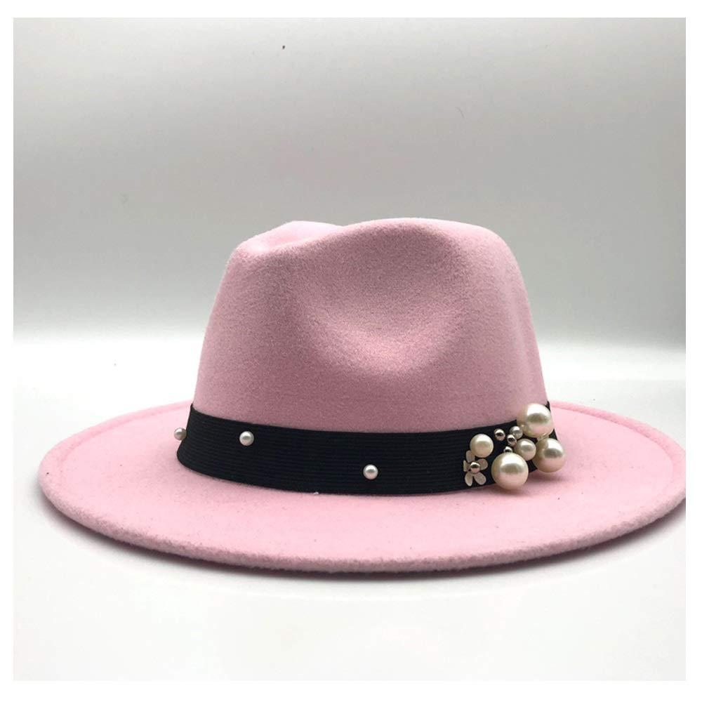 16ff7ca0d Women Fedora Hat Wool Felt Leather Belt Pearl Decorative Hat Vintage ...
