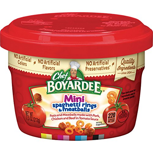 Chef Boyardee Beef Meatballs - Chef Boyardee Mini-Bites Spaghetti Rings with Meatballs, 7.5-Ounce Microwavable Bowls (Pack of 12)