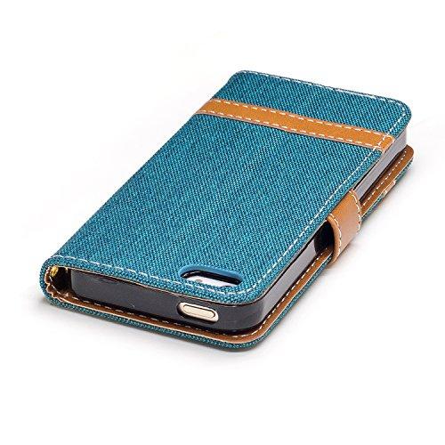 Para iPhone 5 5S 5G / iPhone SE funda, (Marrón del vaquero) Dril de algodón de colores mezclados caja del teléfono móvil de cuero PU Leather cubierta Función de Soporte Billetera con Tapa para Tarjeta Verde vaquero