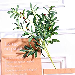 ZJJZH Artificial Decorative Flowers 10 Fork Olive Branch with Fruit Simulation Green Leaf Green Plant Flowers Wedding Venue Interior Decoration Bouquet with Leaves Fake Leaves Artificial Flowers. 45