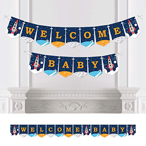 Big Dot of Happiness Blast Off to Outer Space - Rocket Ship Baby Shower Bunting Banner - Party Decorations - Welcome -