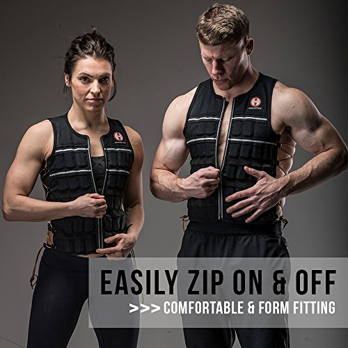 Hyperwear Hyper Vest Elite Weighted Vest Thin Adjustable Medium 10lbs Unisex Sizes, Durable Cordura Fabric, Reflective Trim, and Shock Cord Side Lacing (10, Medium)