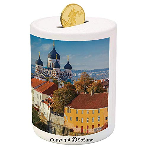 SoSung Modern Ceramic Piggy Bank,Toompea Hill with Historical Tower Russian Cathedral Old City Culture Landmark Image 3D Printed Ceramic Coin Bank Money Box for Kids & ()