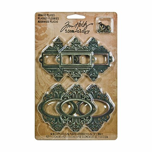 Metal Ornate Plates with Fasteners by Tim Holtz Idea-ology, 6 per Pack, 2-1/2 and 2-5/8 Inches Tall, Antique Finishes, ()