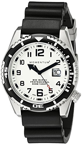 Water Resistant Sapphire Crystal Watch - Men's Sports Watch | M50 Nylon Dive Watch by Momentum | Stainless Steel Watches for Men | Sapphire Crystal Analog Watch with Japanese Movement | Water Resistant (500M/1650FT) Classic Watch - Lume / 1M-DV52L1B
