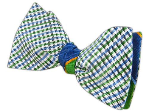 The Tie Bar 100% Silk Kelly and Blue Boarding Madras Reversible Self-Tie Bow Tie