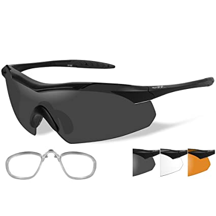 5bf1eb05d8a Amazon.com  Wiley X Vapor Sunglasses - Smoke Grey Clear Rust Lens - Matte  Black  3502RX   Sports   Outdoors