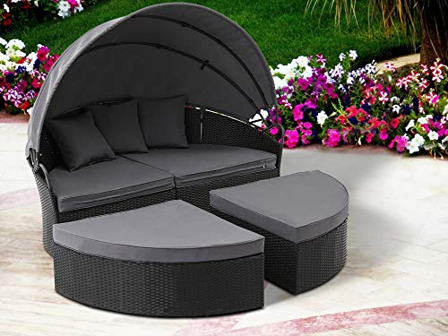 Oakmont Patio Furniture Outdoor Daybed Round Sofas with Canopy, Black Wicker, 4 Pieces Seating Separates Cushioned Seats, Lawn Poolside Garden (Canopy Wicker Daybed)