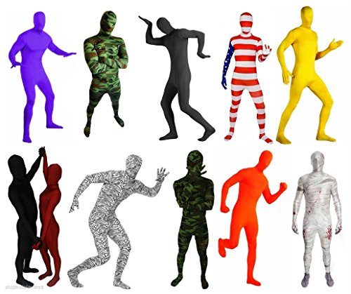 Black And White Costume Duos (Lycra Spandex Zentai Full Body Hood Suit Costume Party Costumes Skin Tight XS-XL (black out shadow))
