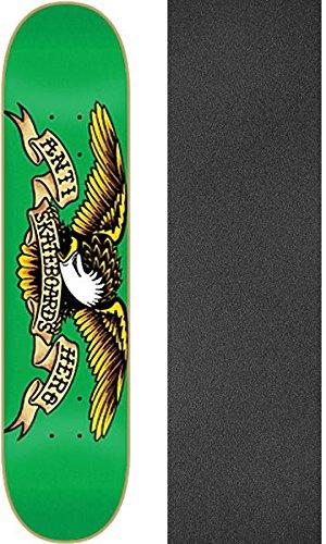 再編成する悔い改め降臨AntiヒーローSkateboardsクラシックEagleグリーンスケートボードデッキ – 7.81 X 32 cmでMob Grip Perforated Griptape – 2アイテムのバンドル