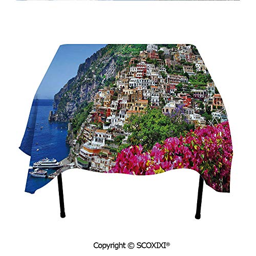Amalfi Table Outdoor Bar (SCOXIXI Kitchen Tablecloth Washable Polyester Fabric,Scenic View of Positano Amalfi Naples Blooming Flowers Coastal Village Image,W55XL55 Inches)