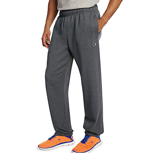 - Champion Men's Powerblend Relaxed Bottom Fleece Pant_Granite Heather_XL