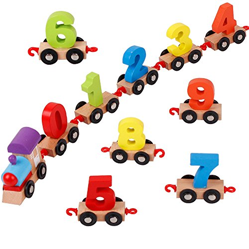 Wooden Train with Numbers Educational Toys Railway Accessories for Kids Toddlers ()