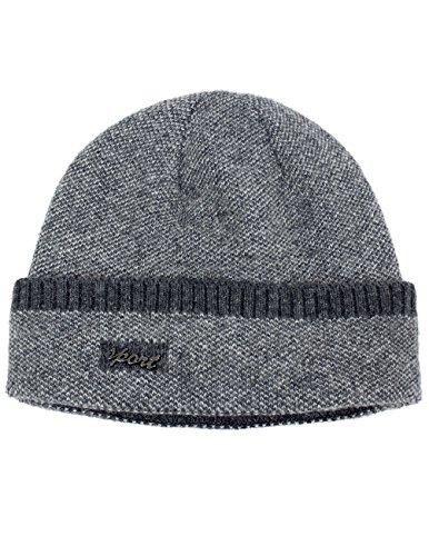 Dahlia Men's Wool Blend Beanie Hat - Sport Soft & Warm Velour Lined - Gray