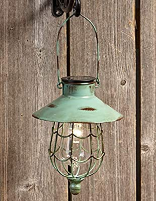 Distressed Porch Lantern - Solar-Powered Light with Vintage-Style Cage