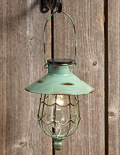 Distressed Porch Lantern – Solar-Powered Light with Vintage-Style Cage – Green