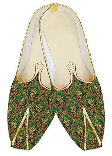 Inmonarch Mens Couleur Émeraude Jute Soie Chaussures De Mariage Mj18266 Émeraude