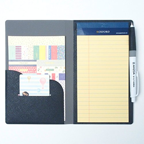 2 Pockets Slim Memo Padfolio F1 with AHZOA Pencil, Including Legal Writing Pad, Handmade 4.33 X 7.28 inch Folder Clipboard Writing Pad (Black) by AHZOA (Image #1)