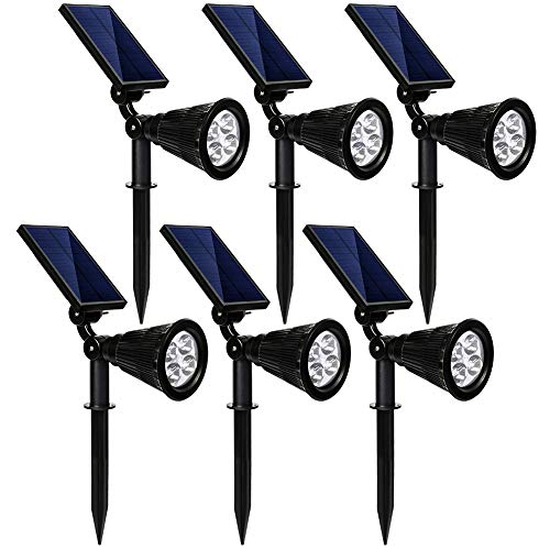 kaizein Solar Spotlights Outdoor, 2-in-1 Waterproof Solar Powered Lights Landscape Lighting Adjustable Wall Light, Solar Lights,Auto On/Off for Yard Garden Driveway Pathway Lawn Pool, 6 Pack (White) ()